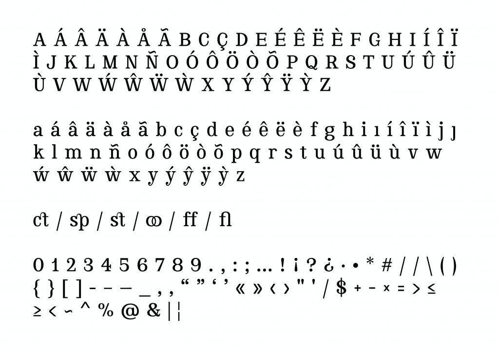 Letras o glifos de la Fuente Thoreau diseñada por Carlos Asencio (chensio)